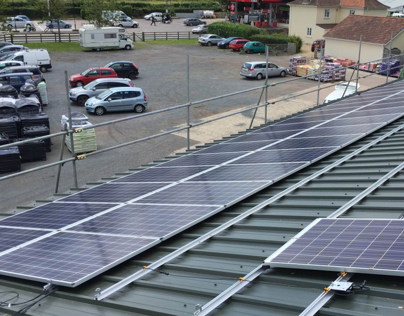 125kW PV system at Millers Farm Shop, Axminster, Devon